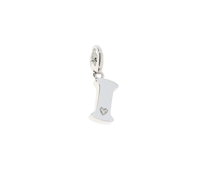 SALVINI - Silver charm with diamonds, Letter I