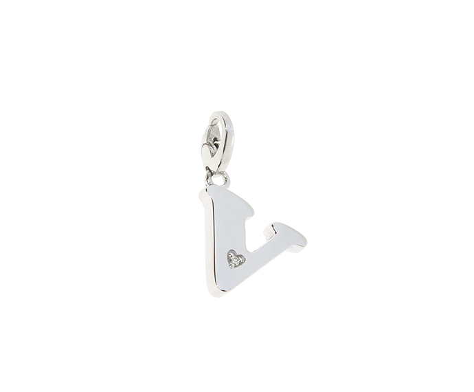 Salvini - Silver charm with diamonds, Letter V