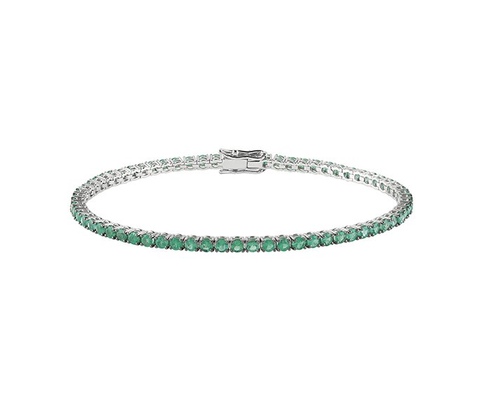 SALVINI - Tennis bracelet in white gold with emeralds