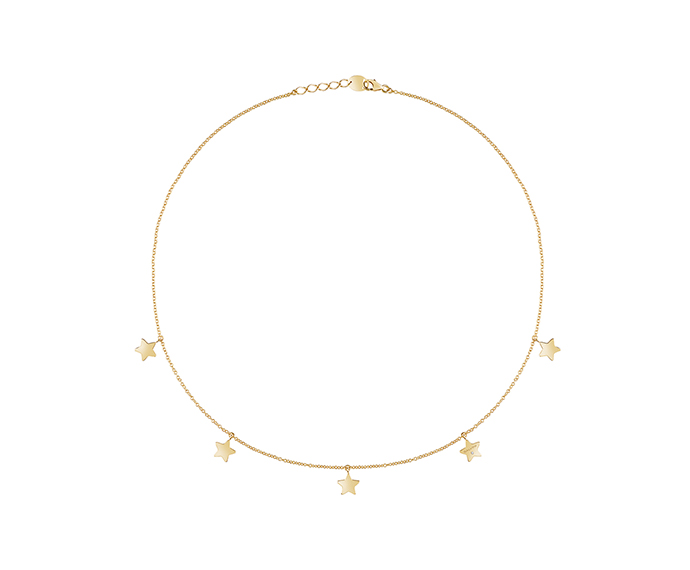 SALVINI - 9KT yellow gold necklaces with diamond. Star size: Width 7,80mm. Length 7,50. Thickness 1,40mm