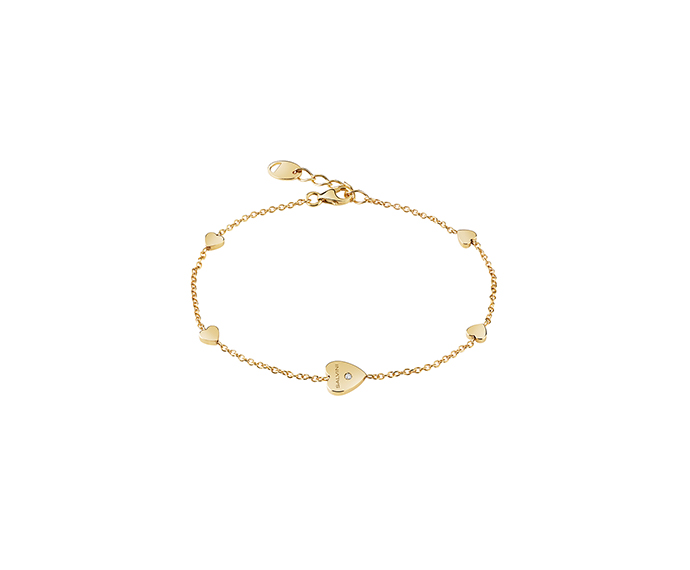SALVINI - 9KT yellow gold bracelets with diamond. Heart size: Width 7,60mm. Length 7,55. Thickness 1,40mm.