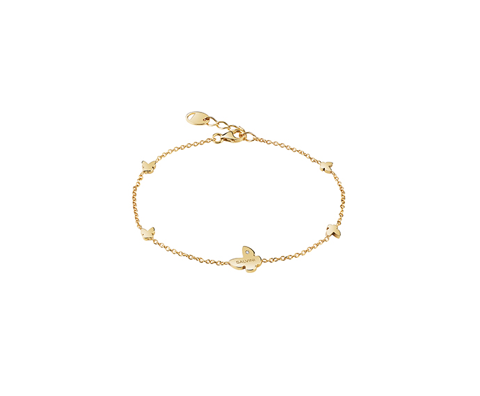 SALVINI - 9KT yellow gold bracelets with diamond. Butterlfy size: Width 7,60mm. Length 7,55. Thickness 1,40mm.